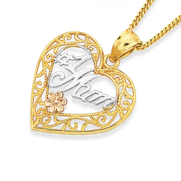 9ct Tri Tone Gold '#1 Mum' Filigree Heart Pendant