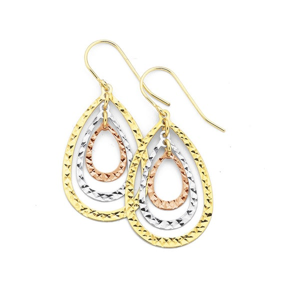 9ct Tri Tone Gold Teardrop Earrings