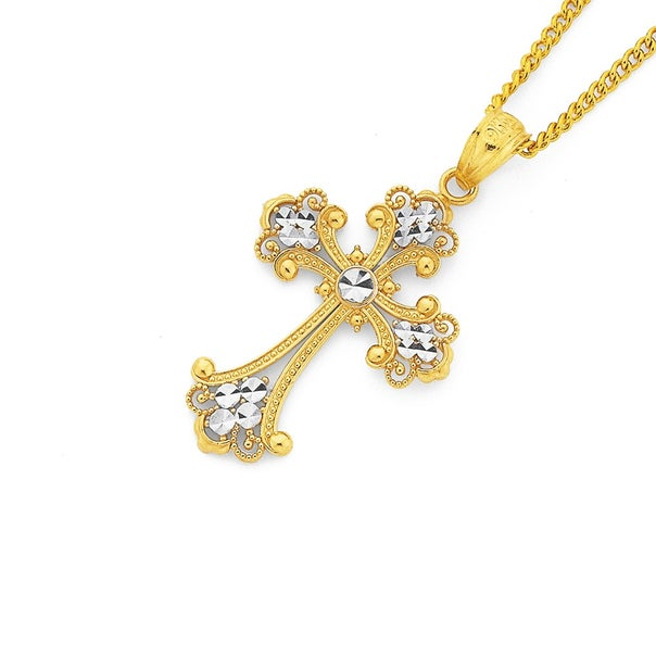 9ct Two Tone 21mm Filigree Ends Cross Pendant