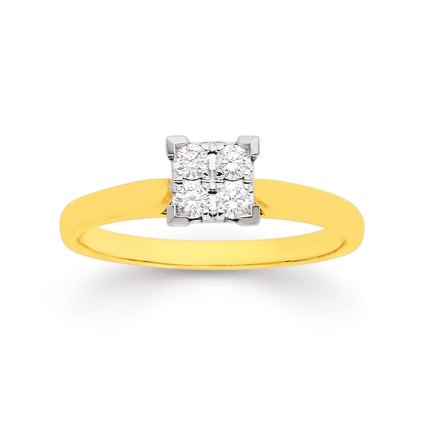 9ct Two Tone Diamond Engagement Ring