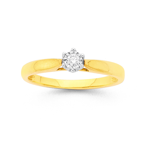 9ct Two Tone Diamond Solitaire Ring