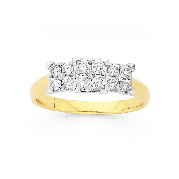 9ct Two Tone Diamond Trilogy Ring