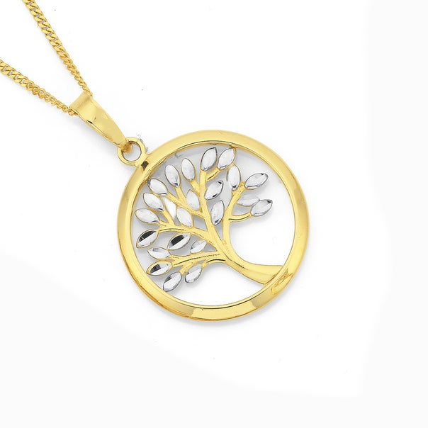 9ct Two Tone Gold 18mm Tree of Life Pendant