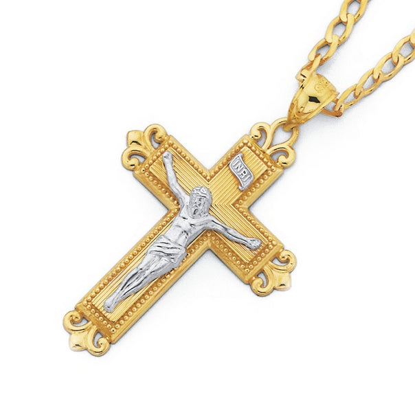 9ct Two Tone Gold Crucifix Pendant with 'Love God' on Back