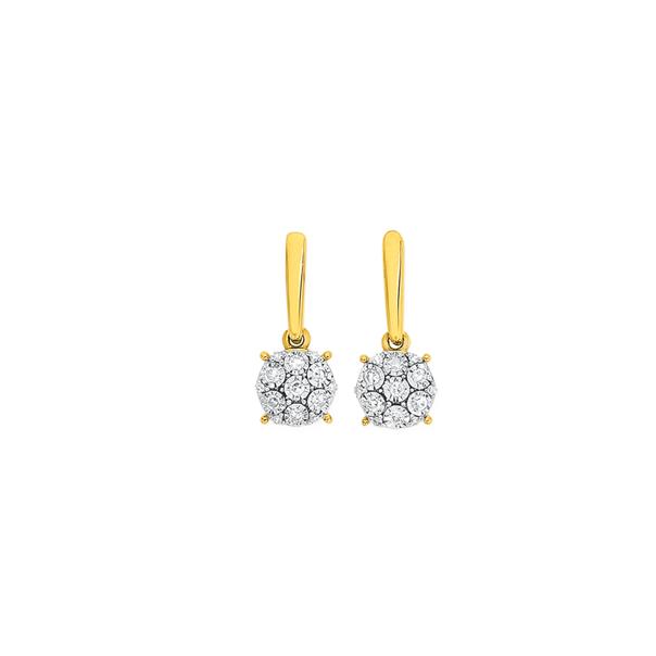 9ct Two Tone Gold Diamond Cluster Drop Stud Earrings