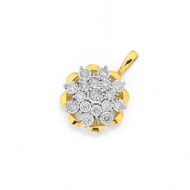 9ct Two Tone Gold Diamond Flower Cluster Pendant