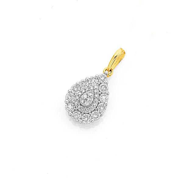 9ct Two Tone Gold Diamond Pear Shaped Pendant