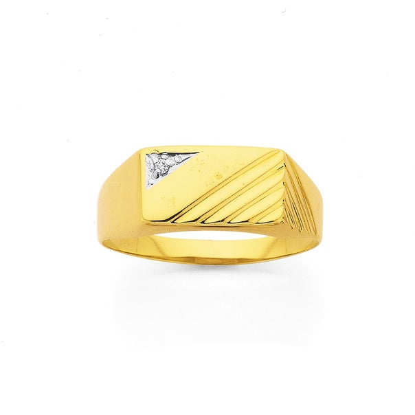9ct Two Tone Gold Diamond Set Gents Rings
