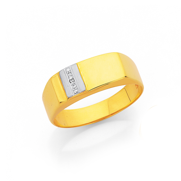 9ct Two Tone Gold Diamond Set Signet Ring