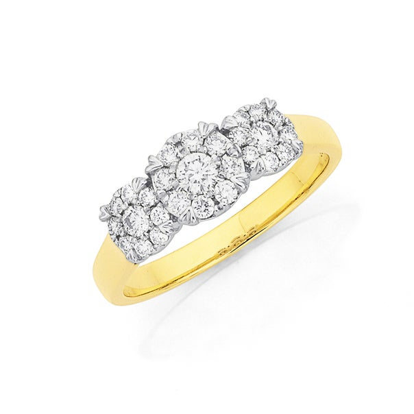9ct Two Tone Gold Diamond Trilogy Cluster Ring