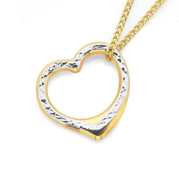 9ct Two Tone Gold Floating Heart Pendant
