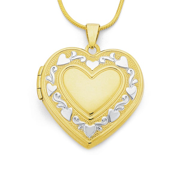 9ct Two Tone Gold Heart Locket