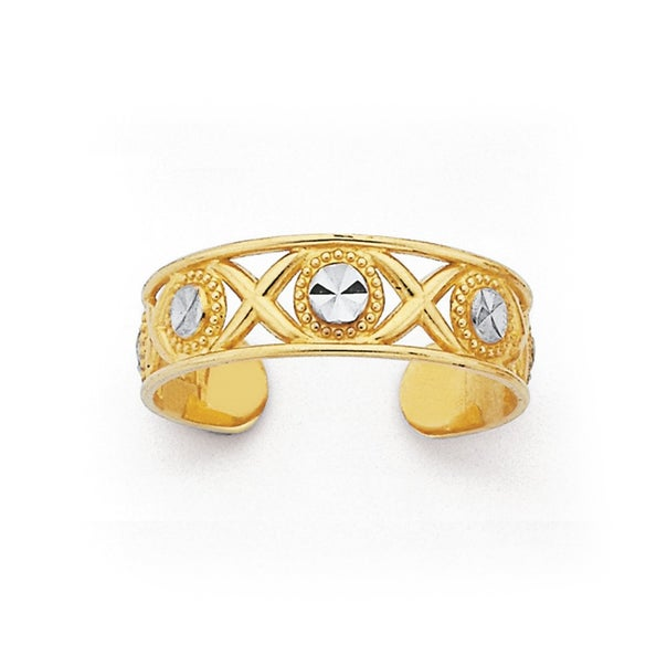 9ct Two Tone Gold Toe Ring