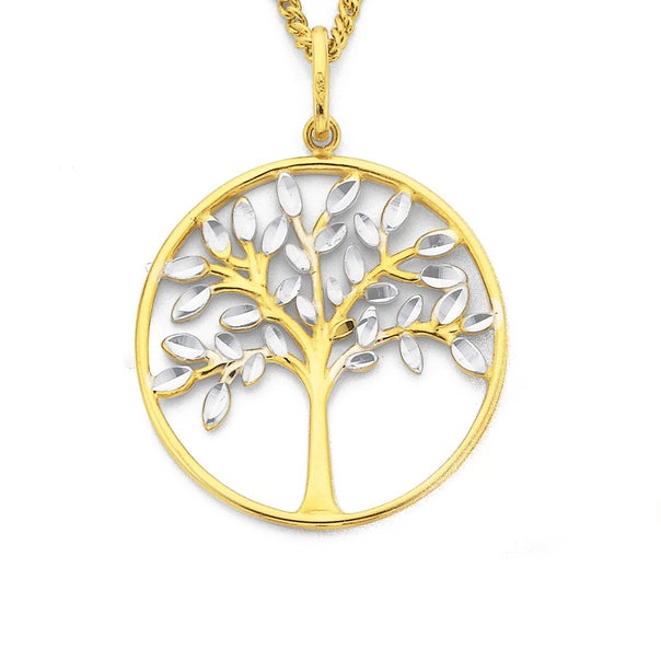 9ct Two Tone Gold Tree of Life Pendant