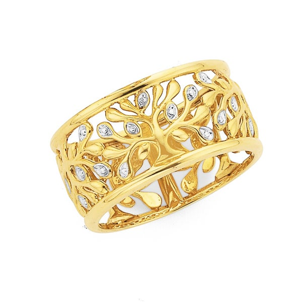 9ct Two Tone Gold Wide Filigree Dress Ring