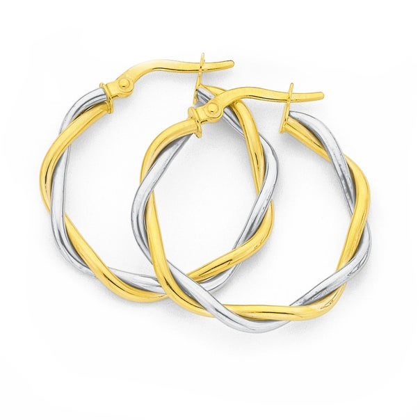 9ct Two Tone Large Hoops 20mm