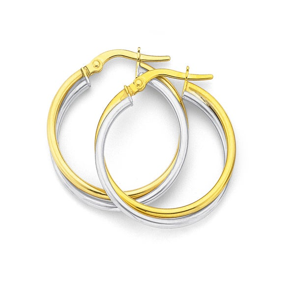 9ct Two Tone Large Twist Hoops 20mm