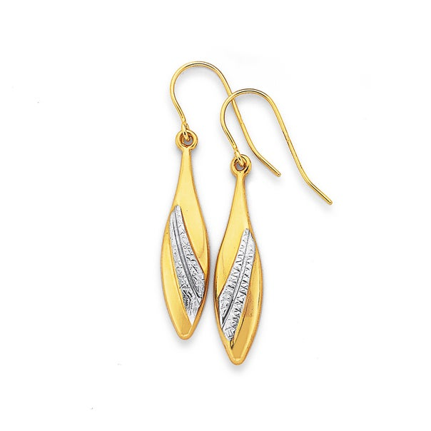 9ct Two Tone Pointed Drop Earrings
