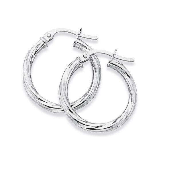 9ct White Gold 2x15mm Twist Hoop Earrings