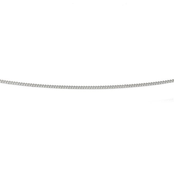9ct White Gold 40cm Solid Curb Chain