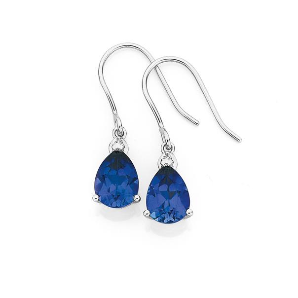 9ct White Gold Created Ceylon Sapphire & Diamond Pear Shape Hook Earrings