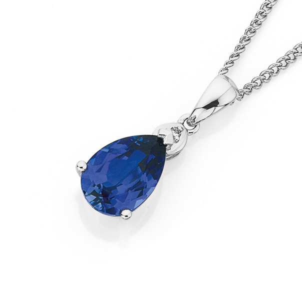 9ct White Gold Created Ceylon Sapphire & Diamond Pendant