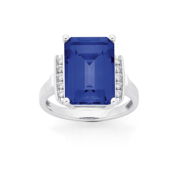 9ct White Gold Created Ceylon Sapphire & Diamond Ring