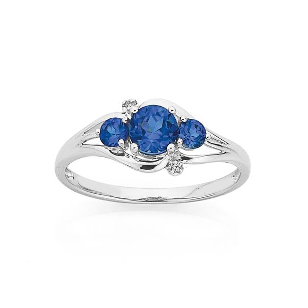 9ct White Gold Created Ceylon Sapphire & Diamond Trilogy Ring