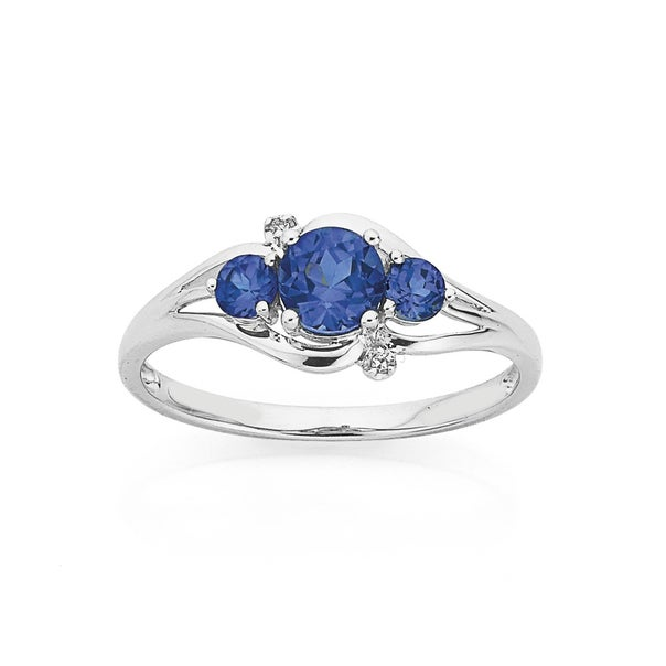 9ct White Gold Created Ceylon Sapphire & Diamond Trilogy Ring