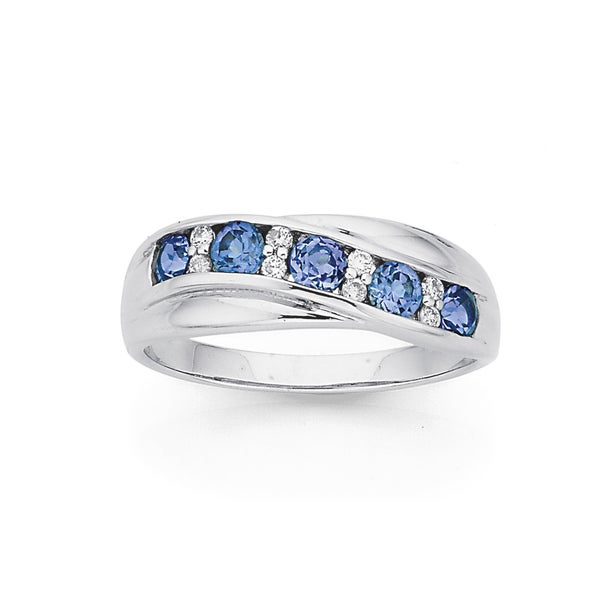 9ct White Gold Created Sapphire & Diamond Crossover Band