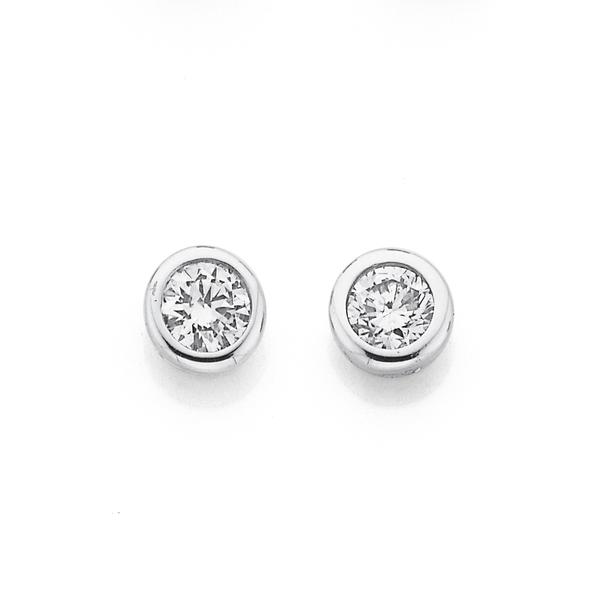 9ct White Gold Diamond Bezel Stud Earrings