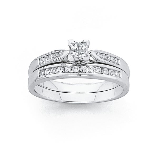 9ct White Gold Diamond Bridal Ring Set