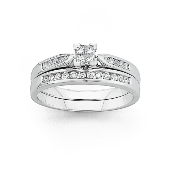 9ct White Gold Diamond Bridal Ring Set