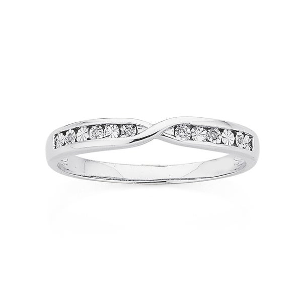 9ct White Gold Diamond Crossover Band