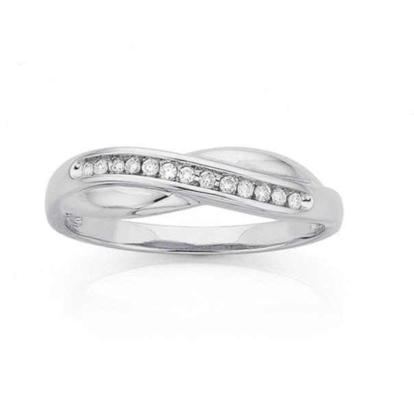 9ct White Gold Diamond Crossover Ribbon Ring