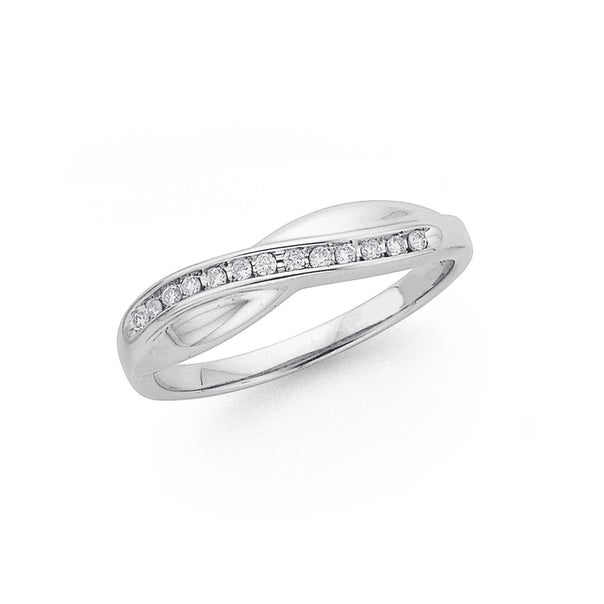 9ct White Gold Diamond Crossover Ribbon Ring