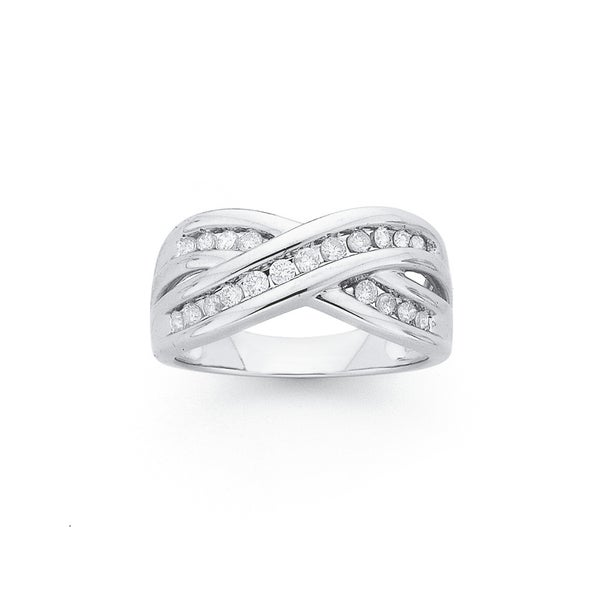 9ct White Gold, Diamond Crossover Ring