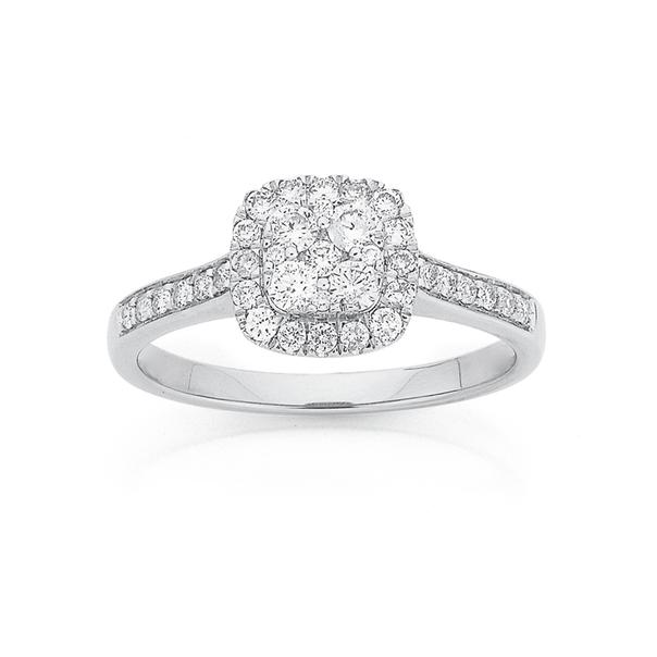9ct White Gold Diamond Cushion Halo Cluster Ring TDW=.50ct