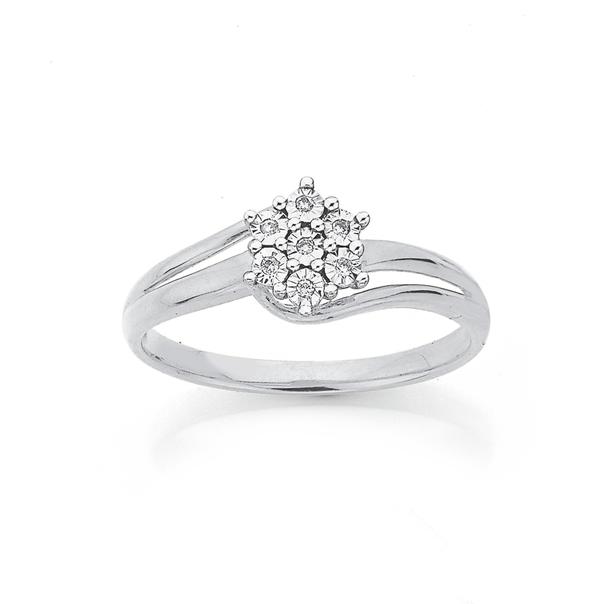 9ct White Gold Diamond Flower Dress Ring