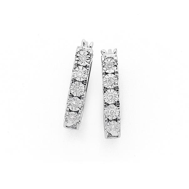9ct White Gold, Diamond Hoop Earrings