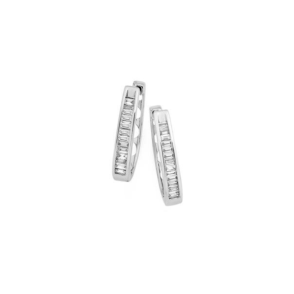 9ct White Gold Diamond Huggie Earrings