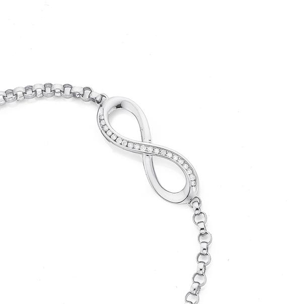 9ct White Gold Diamond Infinity Bar & Belcher Link Bracelet