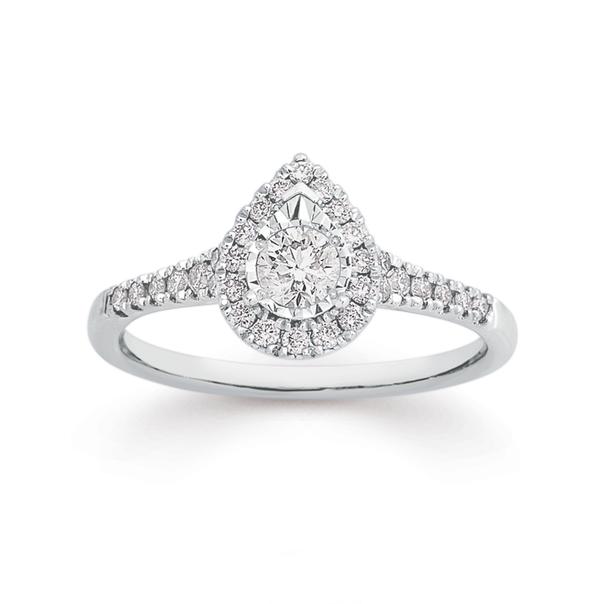 9ct White Gold Diamond Pear Shape Ring
