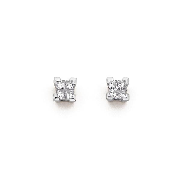 9ct White Gold Diamond Princess Cut Stud Earrings