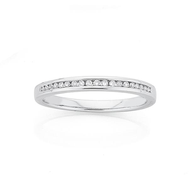 9ct White Gold Diamond Ring TDW=.10ct