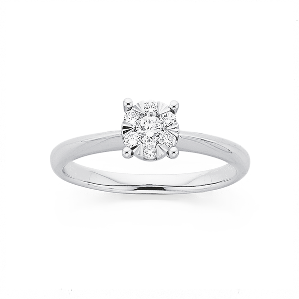 9ct White Gold Diamond Round Cluster Ring