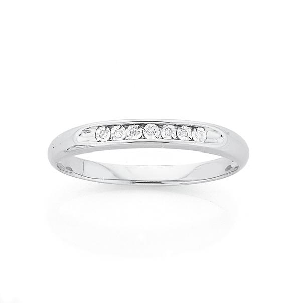 9ct White Gold Diamond Set Ring