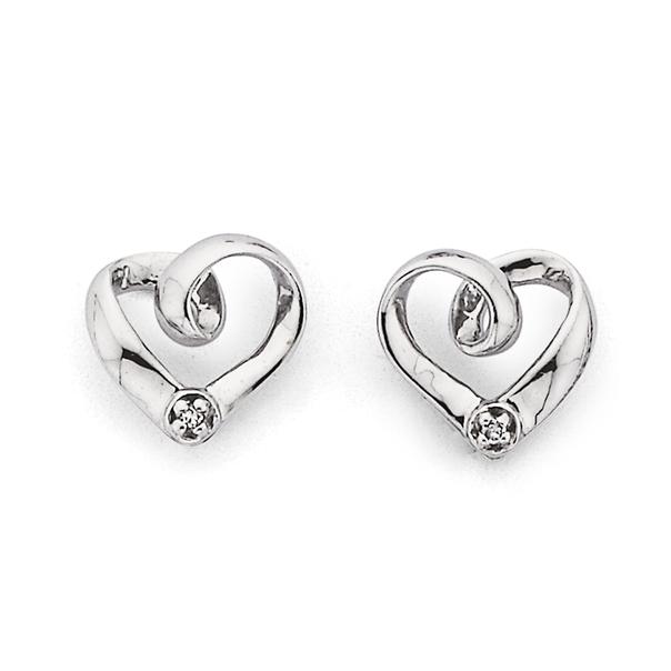 9ct White Gold Diamond Small Heart Stud Earrings