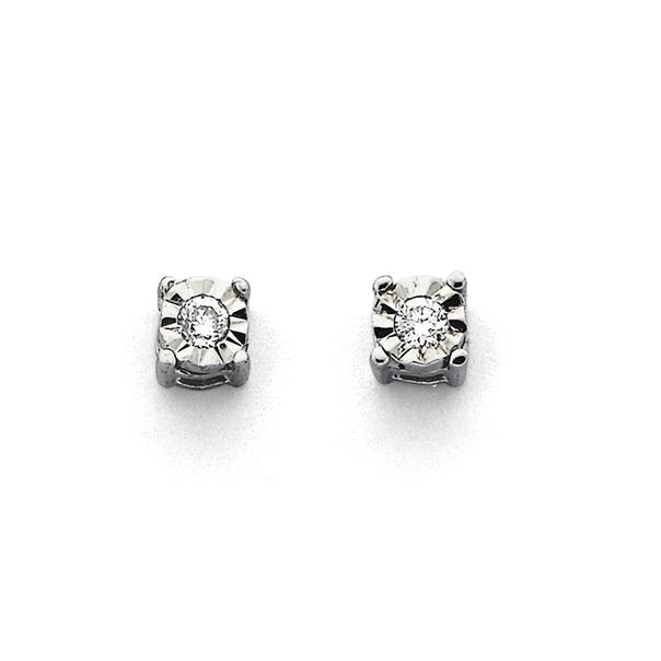 9ct White Gold Diamond Stud Earrings