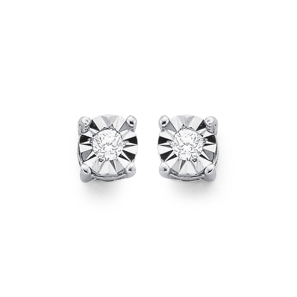 9ct White Gold Diamond Stud Earrings TDW=.10ct